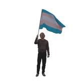 Stor trans handflagga utan pinne 90x150 cm