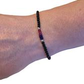 Bi-armband i halvädelstenar  (17cm)
